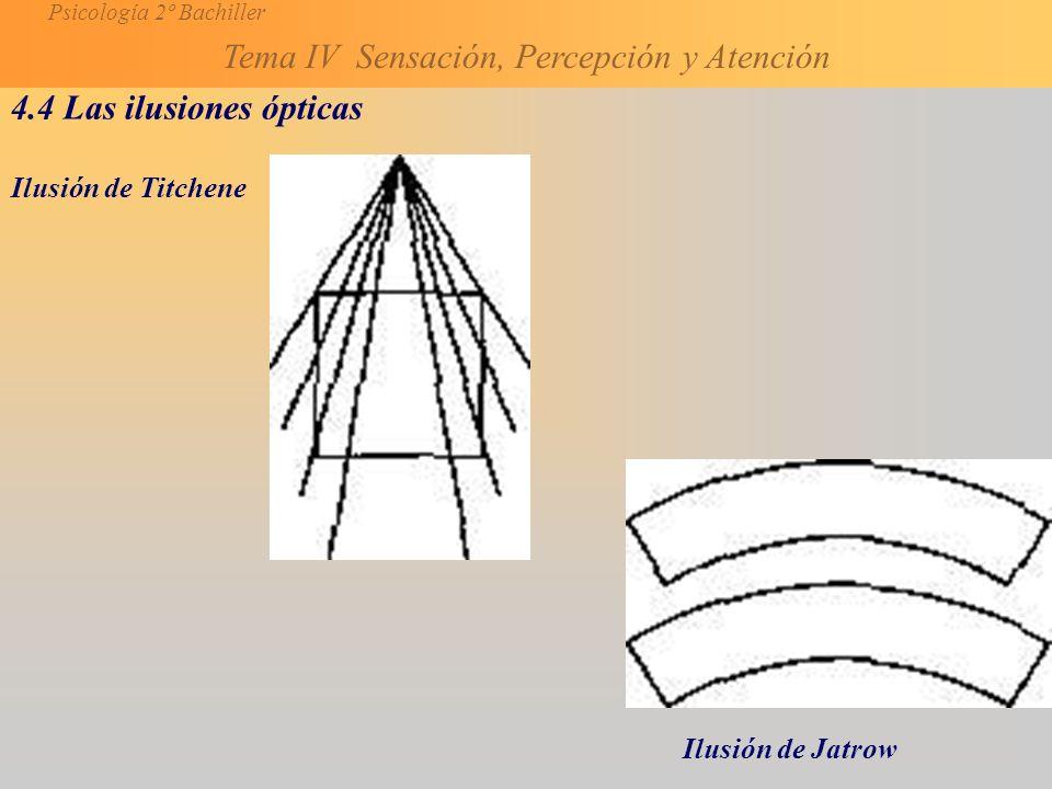 Psicología 2º Bachiller Tema IV Sensación, Percepción y Atención 4.4 Las ilusiones ópticas Ilusión de Titchene Ilusión de Jatrow