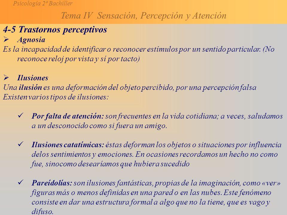 Psicología 2º Bachiller Tema IV Sensación, Percepción y Atención 4-5 Trastornos perceptivos Agnosia Es la incapacidad de identificar o reconocer estímulos por un sentido particular.