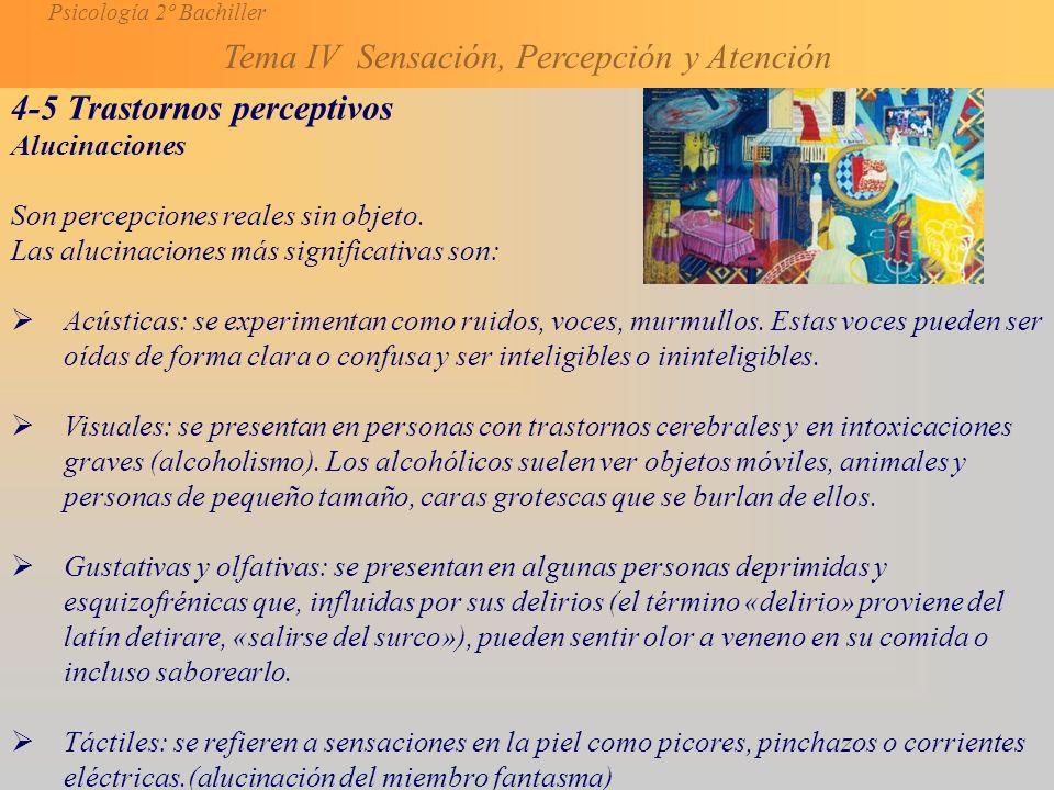 Psicología 2º Bachiller Tema IV Sensación, Percepción y Atención 4-5 Trastornos perceptivos Alucinaciones Son percepciones reales sin objeto.