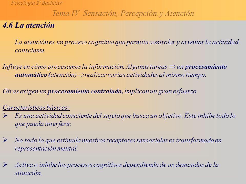 Psicología 2º Bachiller Tema IV Sensación, Percepción y Atención 4.6 La atención La atención es un proceso cognitivo que permite controlar y orientar la actividad consciente Influye en cómo procesamos la información.