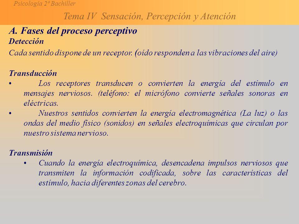 Psicología 2º Bachiller Tema IV Sensación, Percepción y Atención A.