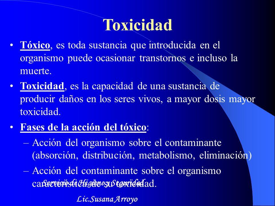 Toxicidad Tóxico, es toda sustancia que introducida en el organismo puede ocasionar transtornos e incluso la muerte.