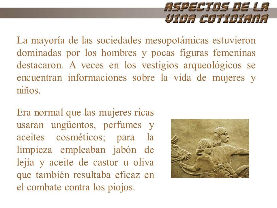 La mayoría de las sociedades mesopotámicas estuvieron dominadas por los hombres y pocas figuras femeninas destacaron. A veces en los vestigios arqueol