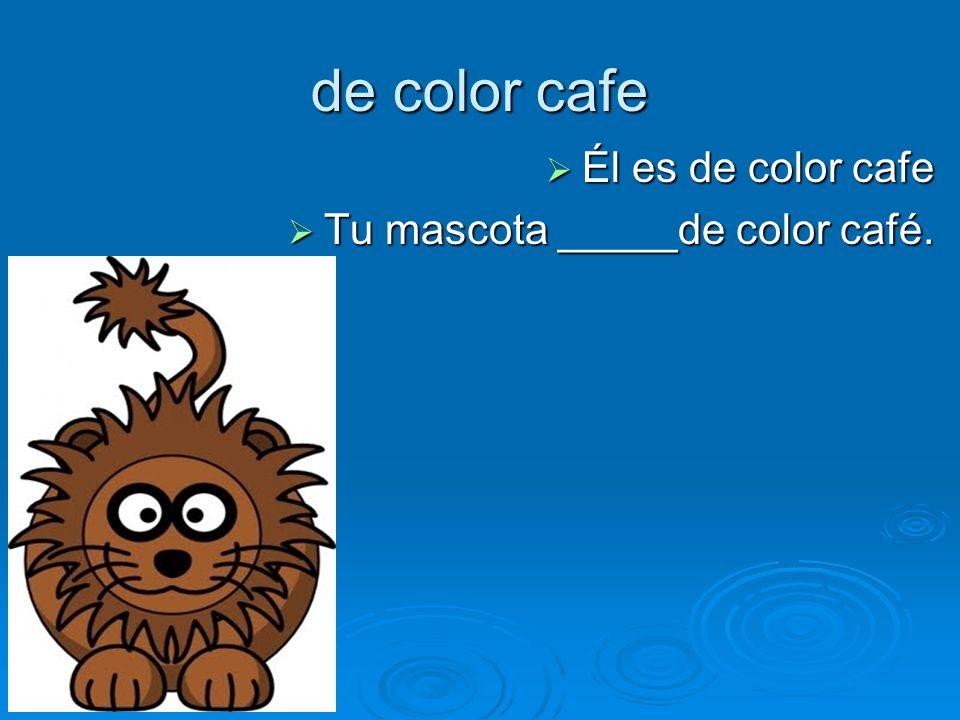 de color cafe Él es de color cafe Él es de color cafe Tu mascota _____de color café.