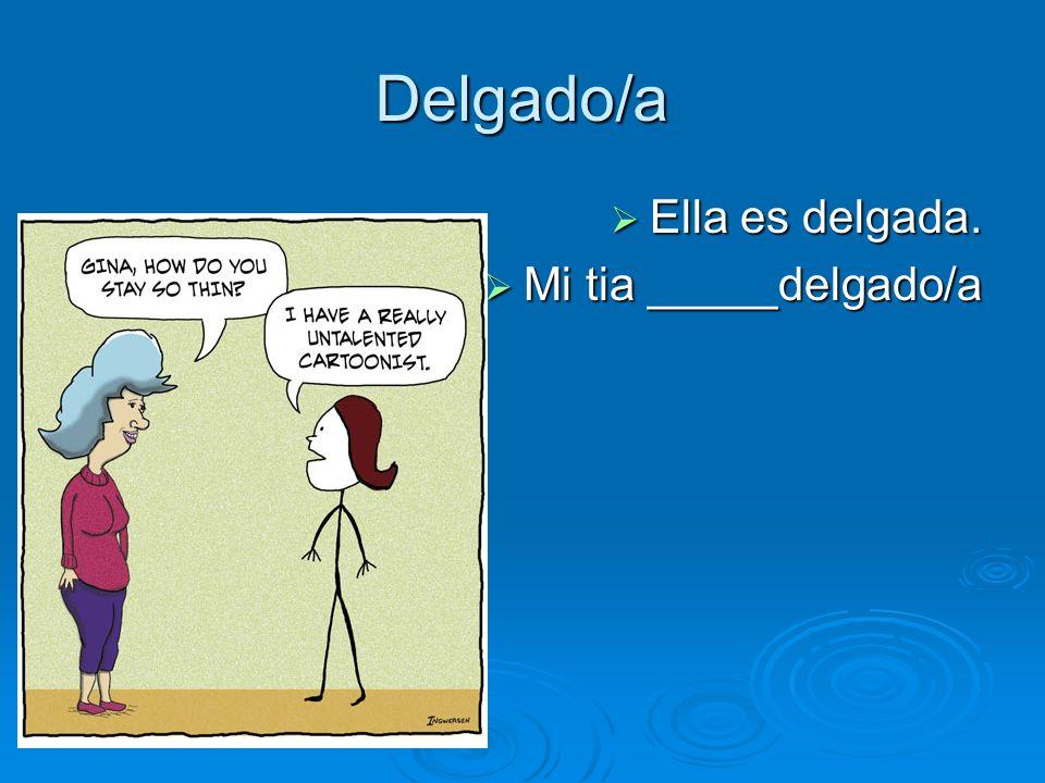 Delgado/a Ella es delgada. Ella es delgada. Mi tia _____delgado/a Mi tia _____delgado/a