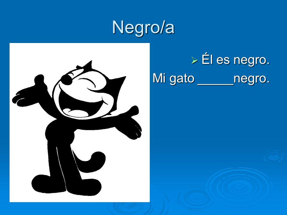 Negro/a Él es negro. Él es negro. Mi gato _____negro. Mi gato _____negro.