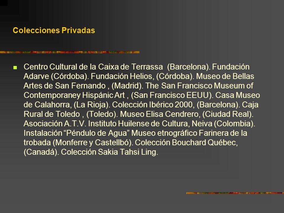 Colecciones Privadas Centro Cultural de la Caixa de Terrassa (Barcelona). Fundación Adarve (Córdoba). Fundación Helios, (Córdoba). Museo de Bellas Art