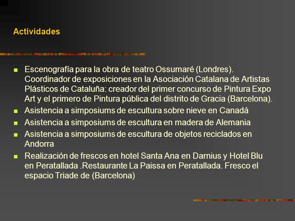Actividades Escenografía para la obra de teatro Ossumaré (Londres). Coordinador de exposiciones en la Asociación Catalana de Artistas Plásticos de Cat
