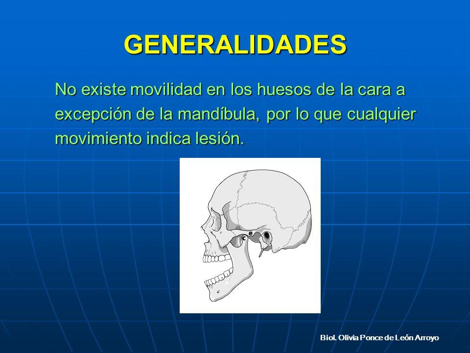 GENERALIDADES No existe movilidad en los huesos de la cara a excepción de la mandíbula, por lo que cualquier movimiento indica lesión.