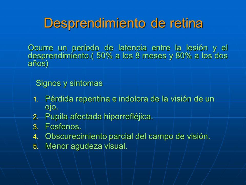 Desprendimiento de retina Ocurre un período de latencia entre la lesión y el desprendimiento.( 50% a los 8 meses y 80% a los dos años) Signos y síntomas 1.