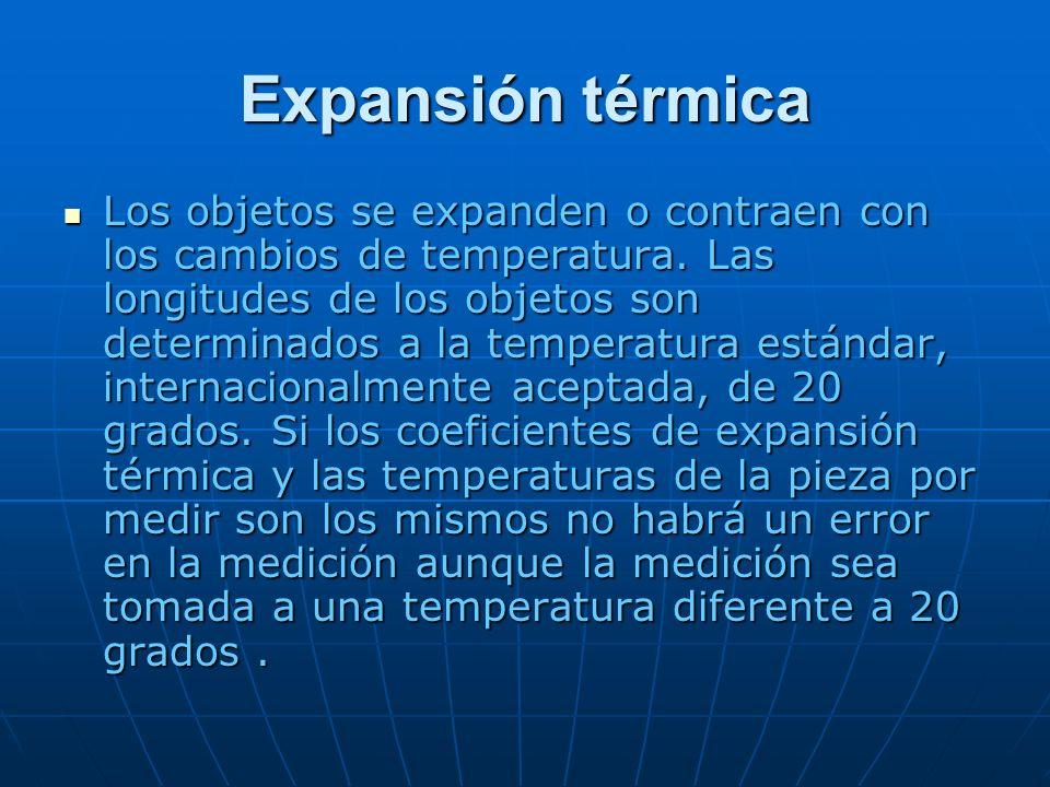 Expansión térmica Los objetos se expanden o contraen con los cambios de temperatura. Las longitudes de los objetos son determinados a la temperatura e