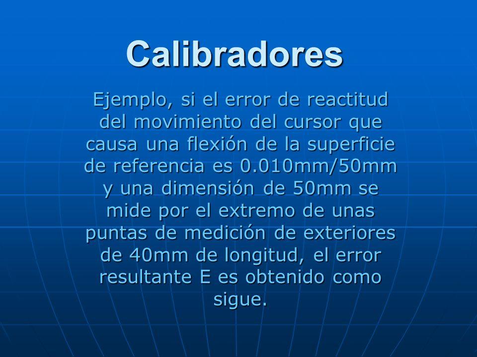 Calibradores Ejemplo, si el error de reactitud del movimiento del cursor que causa una flexión de la superficie de referencia es 0.010mm/50mm y una di