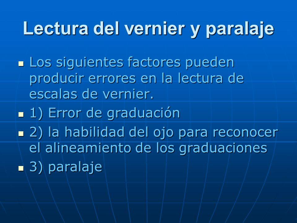 Lectura del vernier y paralaje Los siguientes factores pueden producir errores en la lectura de escalas de vernier. Los siguientes factores pueden pro
