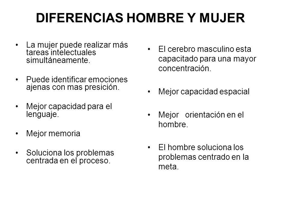 DIFERENCIAS HOMBRE Y MUJER La mujer puede realizar más tareas intelectuales simultáneamente.