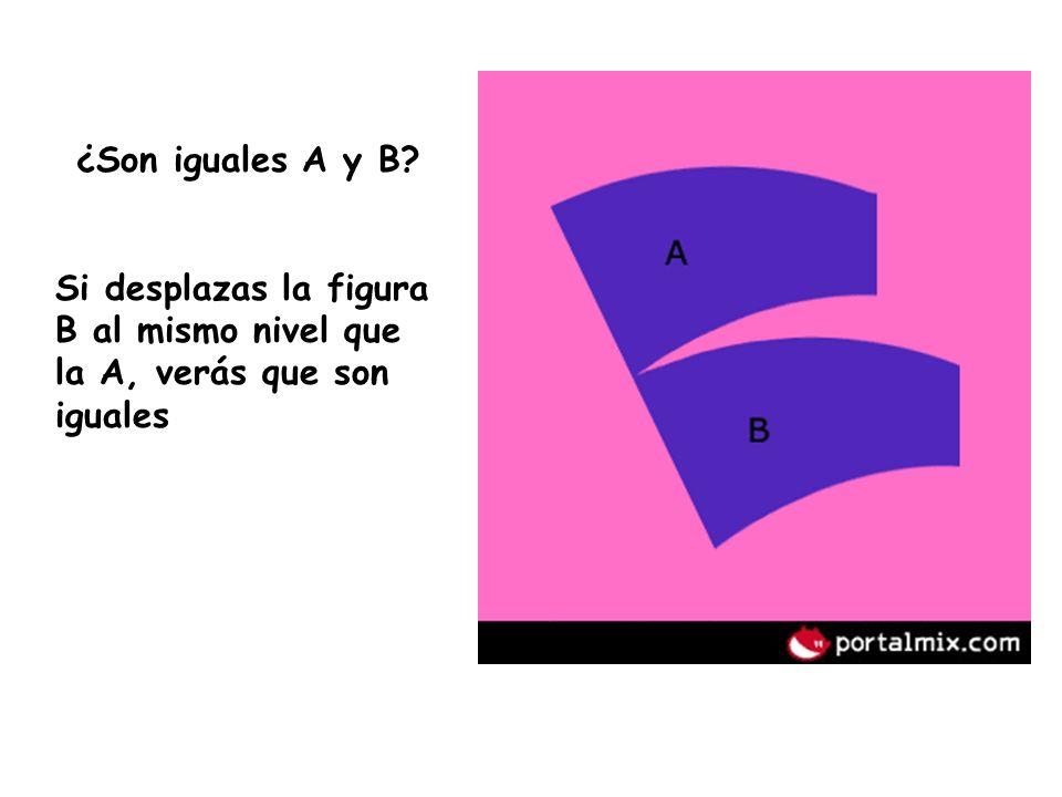 ¿Son iguales A y B? Si desplazas la figura B al mismo nivel que la A, verás que son iguales