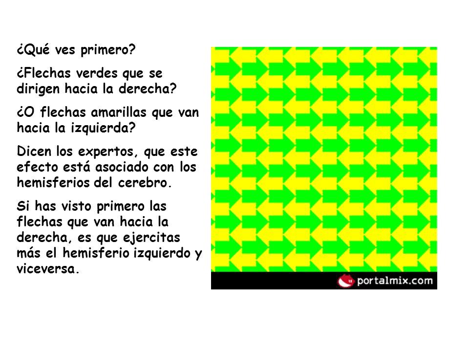 ¿Qué ves primero? ¿Flechas verdes que se dirigen hacia la derecha? ¿O flechas amarillas que van hacia la izquierda? Dicen los expertos, que este efect