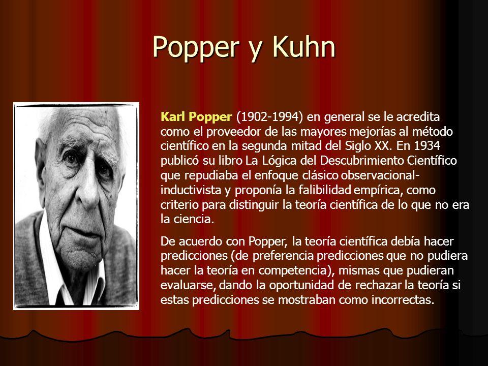 Popper y Kuhn Karl Popper (1902-1994) en general se le acredita como el proveedor de las mayores mejorías al método científico en la segunda mitad del