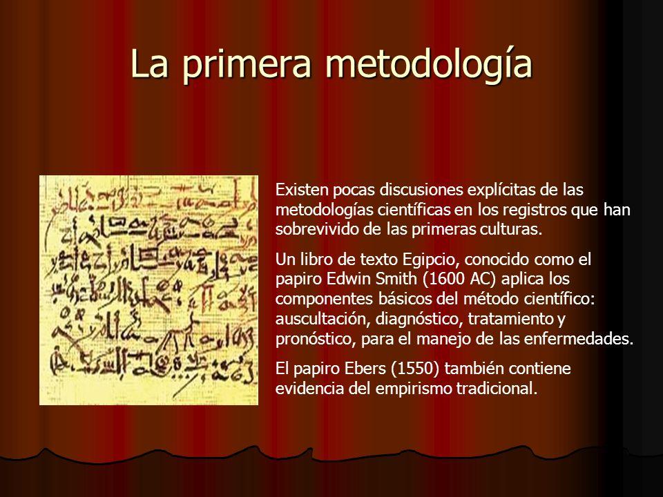 La primera metodología Existen pocas discusiones explícitas de las metodologías científicas en los registros que han sobrevivido de las primeras culturas.