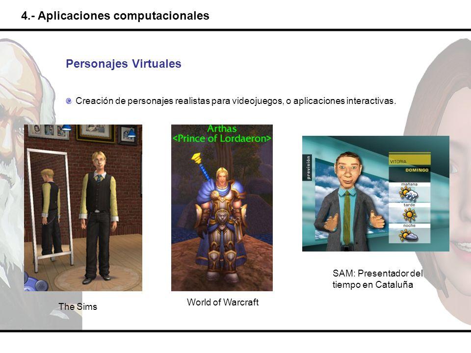 4.- Aplicaciones computacionales Personajes Virtuales Creación de personajes realistas para videojuegos, o aplicaciones interactivas. The Sims World o