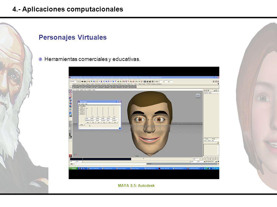 4.- Aplicaciones computacionales Personajes Virtuales Herramientas comerciales y educativas. MAYA 8.5: Autodesk