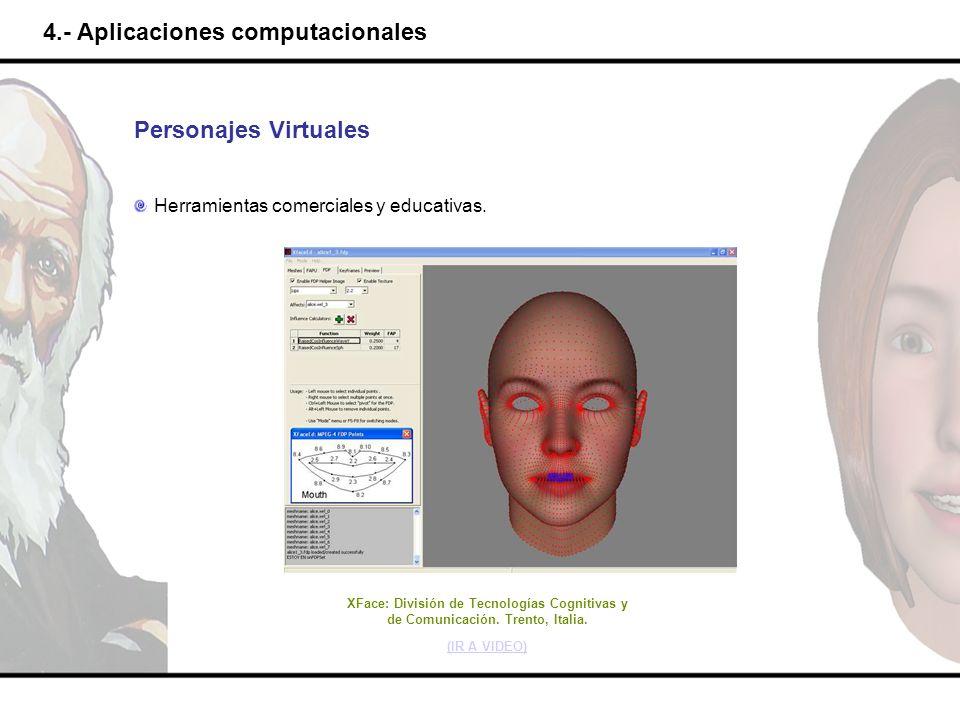 4.- Aplicaciones computacionales Personajes Virtuales Herramientas comerciales y educativas. XFace: División de Tecnologías Cognitivas y de Comunicaci