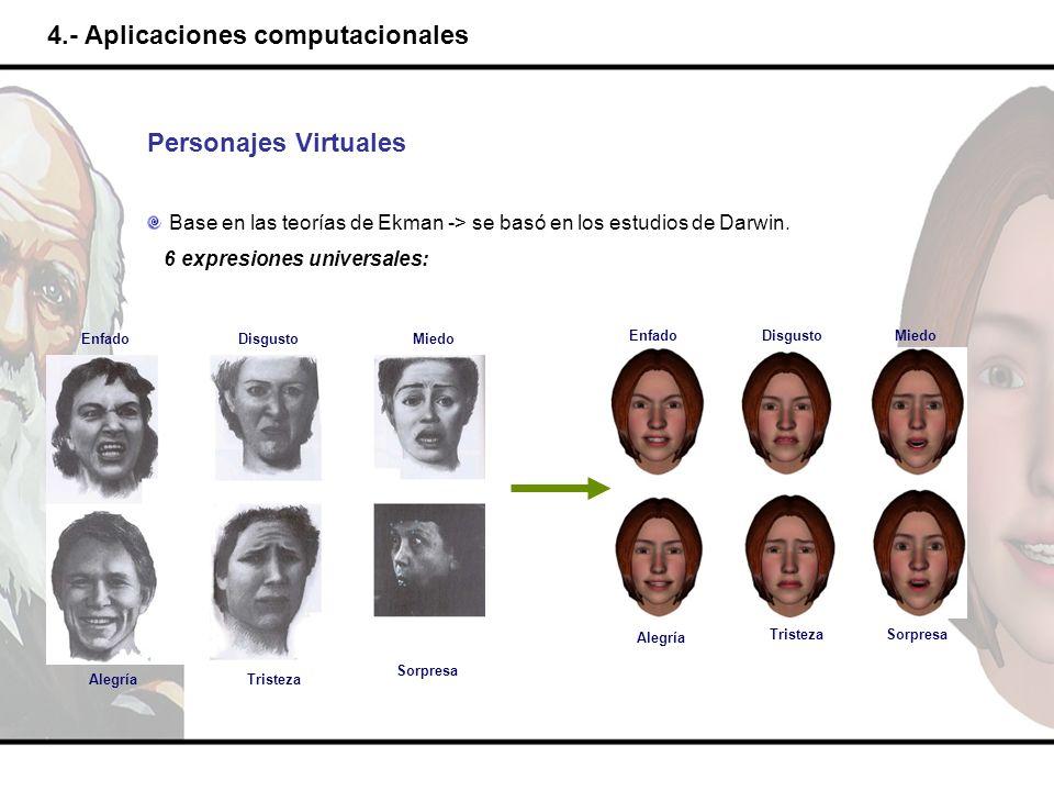 4.- Aplicaciones computacionales Personajes Virtuales Base en las teorías de Ekman -> se basó en los estudios de Darwin. 6 expresiones universales: En