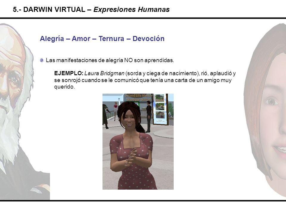 5.- DARWIN VIRTUAL – Expresiones Humanas Alegría – Amor – Ternura – Devoción Las manifestaciones de alegría NO son aprendidas. EJEMPLO: Laura Bridgman