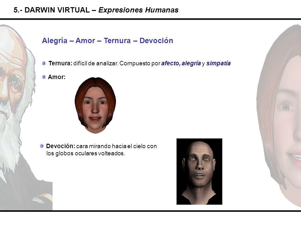 5.- DARWIN VIRTUAL – Expresiones Humanas Alegría – Amor – Ternura – Devoción Ternura: difícil de analizar. Compuesto por afecto, alegría y simpatía Am