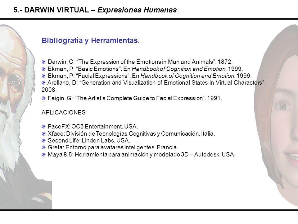 5.- DARWIN VIRTUAL – Expresiones Humanas Bibliografía y Herramientas. Darwin, C: The Expression of the Emotions in Man and Animals. 1872. Ekman, P: Ba