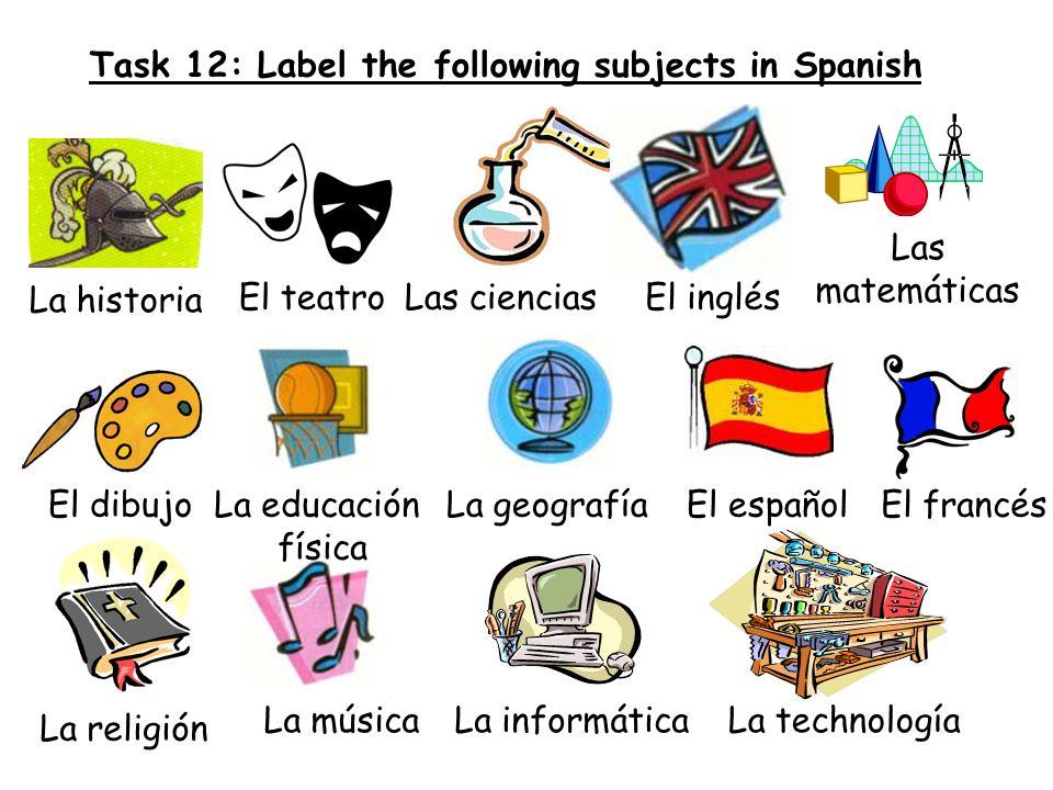 Task 12: Label the following subjects in Spanish La historia El teatroLas cienciasEl inglés Las matemáticas El dibujoLa educación física La geografíaE
