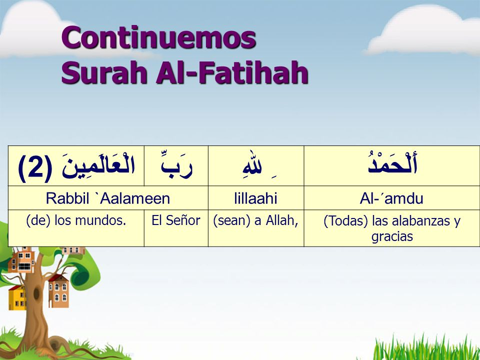 Continuemos Surah Al-Fatihah أَلْحَمْدُِ للهِرَبِّالْعَالَمِينَ ( 2) Al-´amdulillaahiRabbil `Aalameen (Todas) las alabanzas y gracias (sean) a Allah,El Señor(de) los mundos.