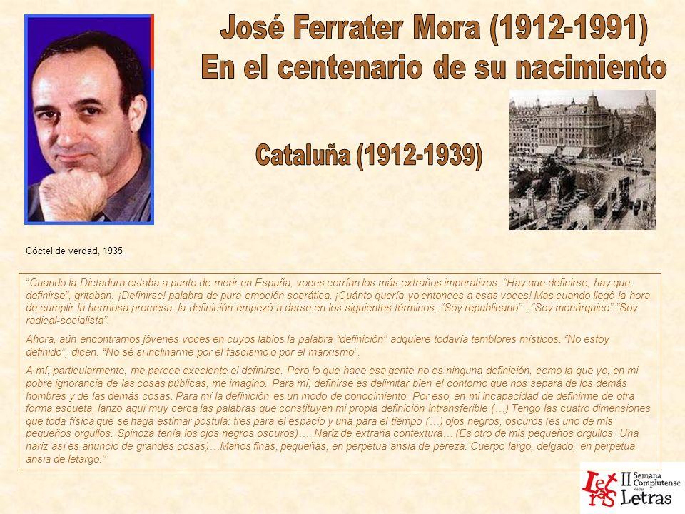 Cóctel de verdad, 1935 Cuando la Dictadura estaba a punto de morir en España, voces corrían los más extraños imperativos. Hay que definirse, hay que d
