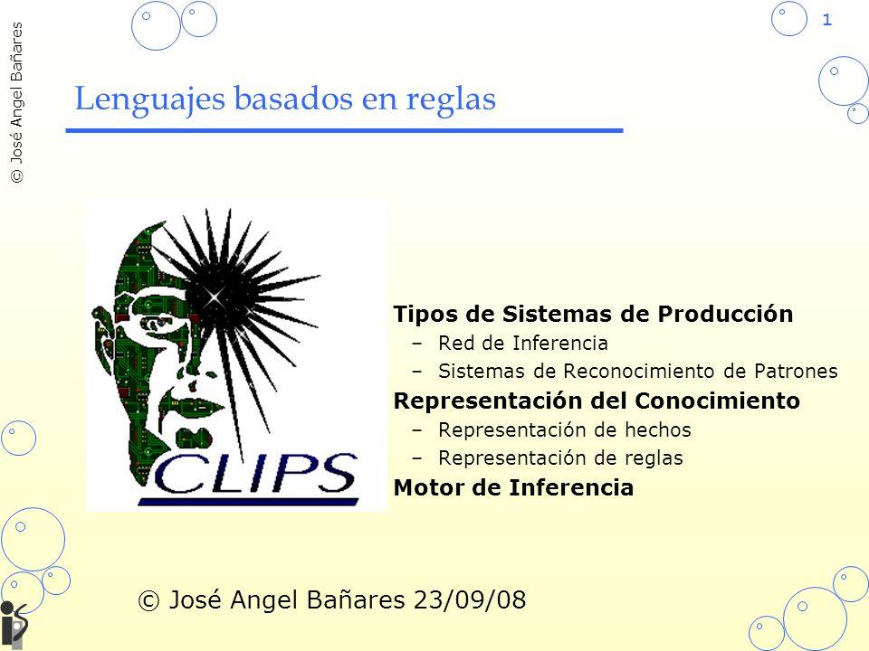1 © José Angel Bañares Tipos de Sistemas de Producción –Red de Inferencia –Sistemas de Reconocimiento de Patrones Representación del Conocimiento –Rep