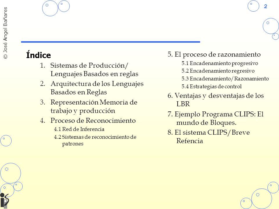 2 © José Angel Bañares Índice 1.Sistemas de Producción/ Lenguajes Basados en reglas 2.Arquitectura de los Lenguajes Basados en Reglas 3.Representación Memoria de trabajo y producción 4.Proceso de Reconocimiento 4.1 Red de Inferencia 4.2 Sistemas de reconocimiento de patrones 5.