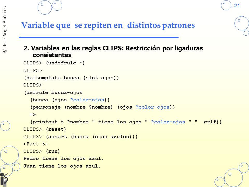 21 © José Angel Bañares Variable que se repiten en distintos patrones 2. Variables en las reglas CLIPS: Restricción por ligaduras consistentes CLIPS>