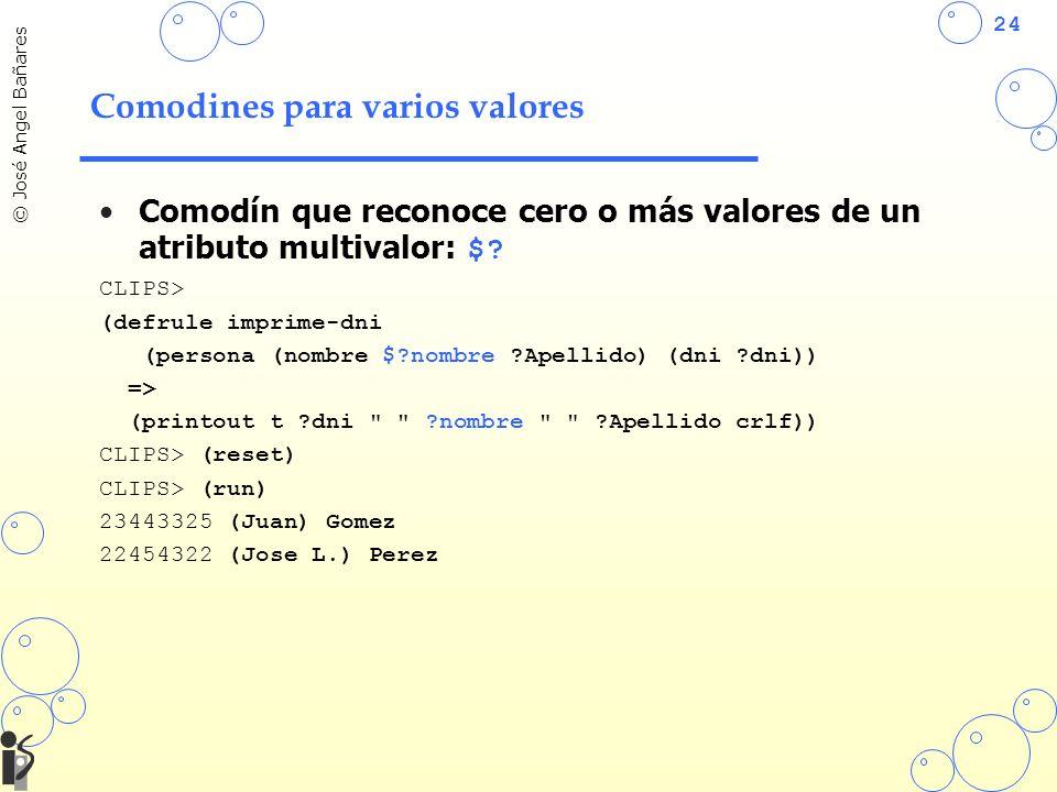 24 © José Angel Bañares Comodines para varios valores Comodín que reconoce cero o más valores de un atributo multivalor: $? CLIPS> (defrule imprime-dn