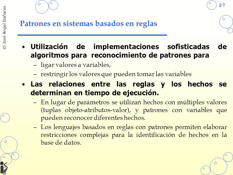 27 © José Angel Bañares Patrones en sistemas basados en reglas Utilización de implementaciones sofisticadas de algoritmos para reconocimiento de patrones para –ligar valores a variables, –restringir los valores que pueden tomar las variables Las relaciones entre las reglas y los hechos se determinan en tiempo de ejecución.