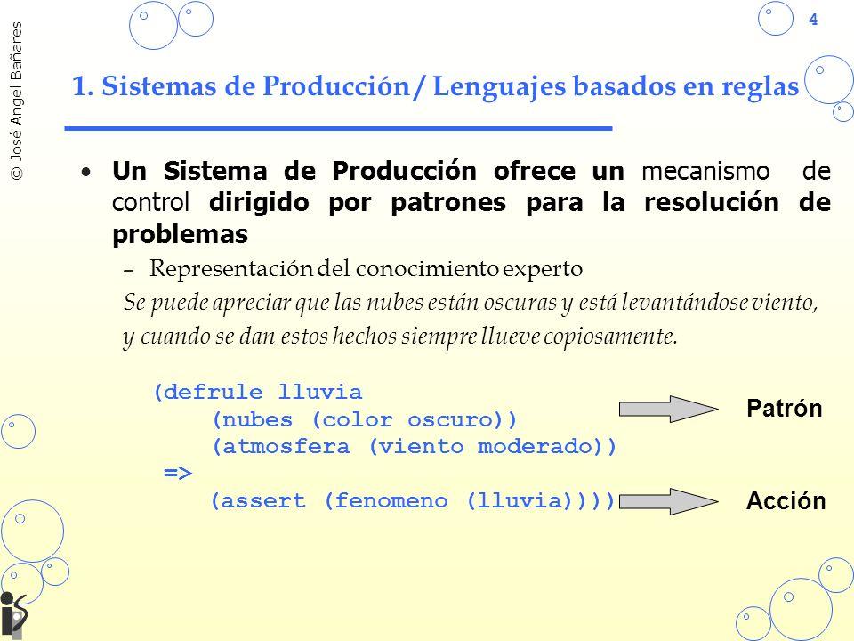 4 © José Angel Bañares 1. Sistemas de Producción / Lenguajes basados en reglas Un Sistema de Producción ofrece un mecanismo de control dirigido por pa