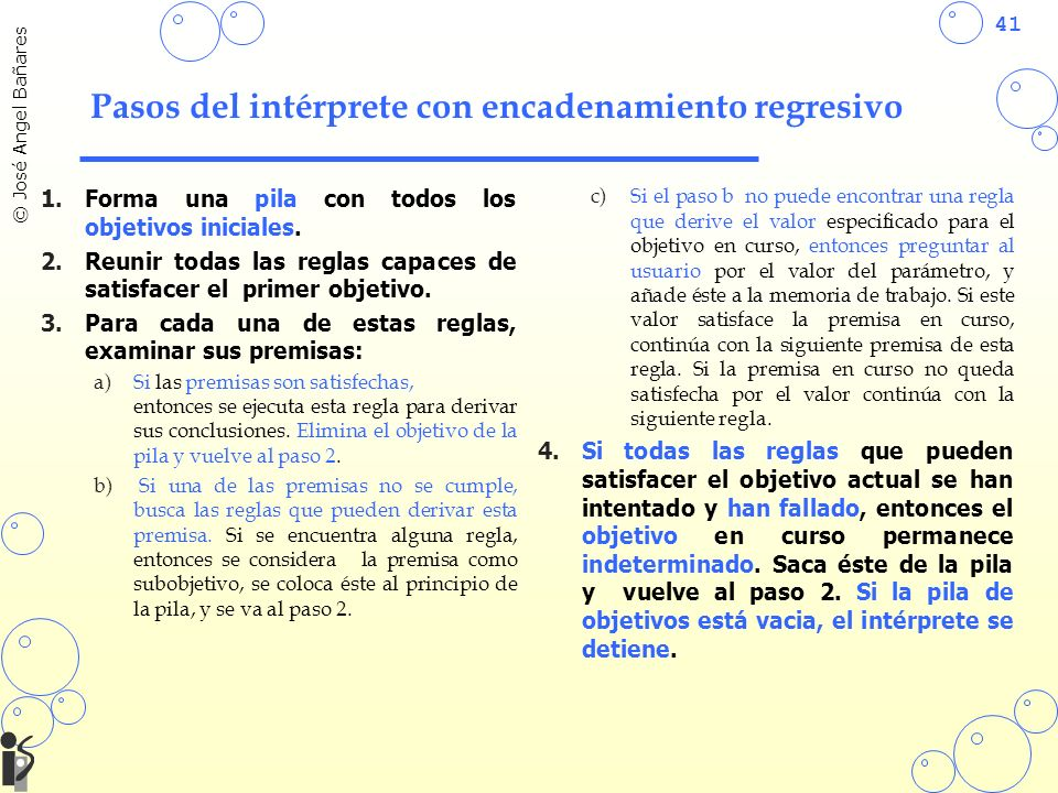41 © José Angel Bañares Pasos del intérprete con encadenamiento regresivo 1.Forma una pila con todos los objetivos iniciales. 2.Reunir todas las regla