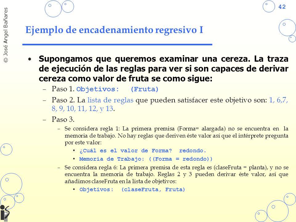 42 © José Angel Bañares Ejemplo de encadenamiento regresivo I Supongamos que queremos examinar una cereza.