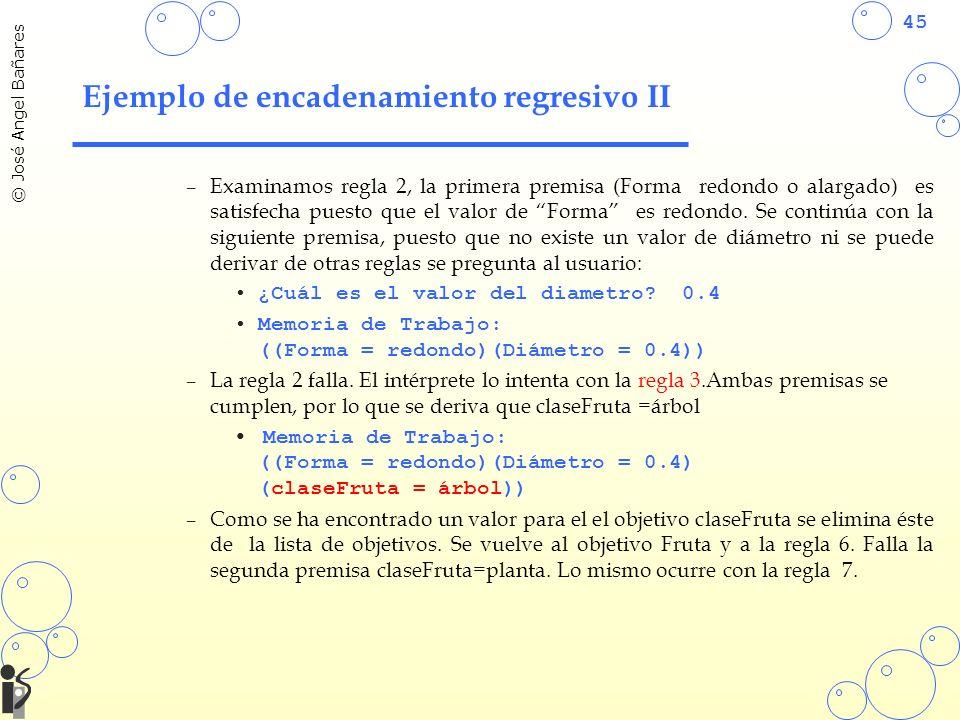 45 © José Angel Bañares Ejemplo de encadenamiento regresivo II –Examinamos regla 2, la primera premisa (Forma redondo o alargado) es satisfecha puesto que el valor de Forma es redondo.