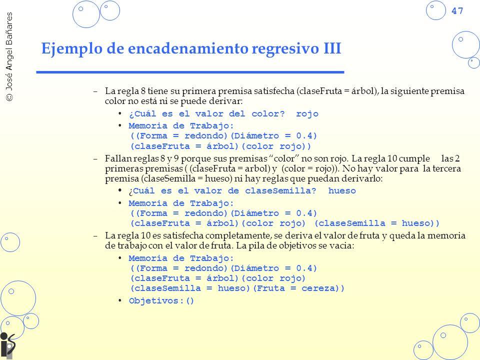 47 © José Angel Bañares Ejemplo de encadenamiento regresivo III –La regla 8 tiene su primera premisa satisfecha (claseFruta = árbol), la siguiente pre