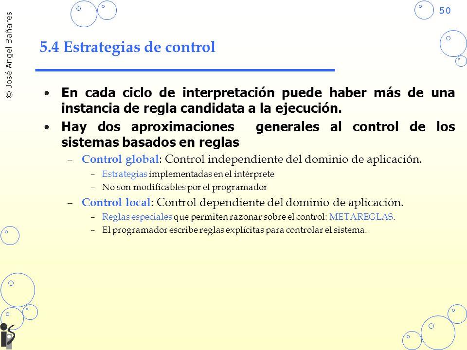 50 © José Angel Bañares 5.4 Estrategias de control En cada ciclo de interpretación puede haber más de una instancia de regla candidata a la ejecución.