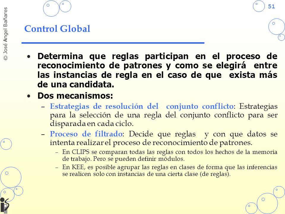 51 © José Angel Bañares Control Global Determina que reglas participan en el proceso de reconocimiento de patrones y como se elegirá entre las instancias de regla en el caso de que exista más de una candidata.