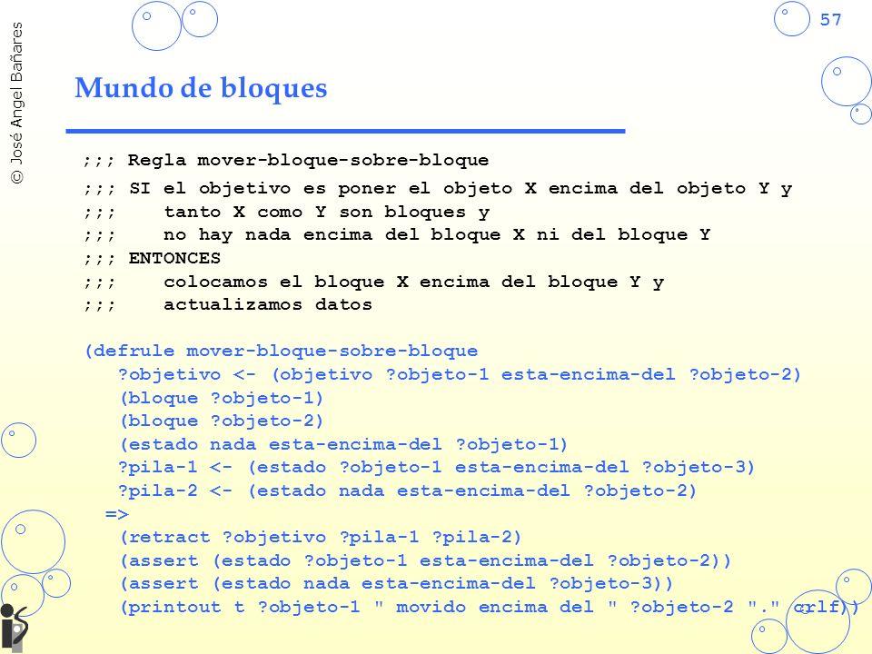 57 © José Angel Bañares Mundo de bloques ;;; Regla mover-bloque-sobre-bloque ;;; SI el objetivo es poner el objeto X encima del objeto Y y ;;; tanto X como Y son bloques y ;;; no hay nada encima del bloque X ni del bloque Y ;;; ENTONCES ;;; colocamos el bloque X encima del bloque Y y ;;; actualizamos datos (defrule mover-bloque-sobre-bloque ?objetivo <- (objetivo ?objeto-1 esta-encima-del ?objeto-2) (bloque ?objeto-1) (bloque ?objeto-2) (estado nada esta-encima-del ?objeto-1) ?pila-1 <- (estado ?objeto-1 esta-encima-del ?objeto-3) ?pila-2 <- (estado nada esta-encima-del ?objeto-2) => (retract ?objetivo ?pila-1 ?pila-2) (assert (estado ?objeto-1 esta-encima-del ?objeto-2)) (assert (estado nada esta-encima-del ?objeto-3)) (printout t ?objeto-1 movido encima del ?objeto-2 . crlf))