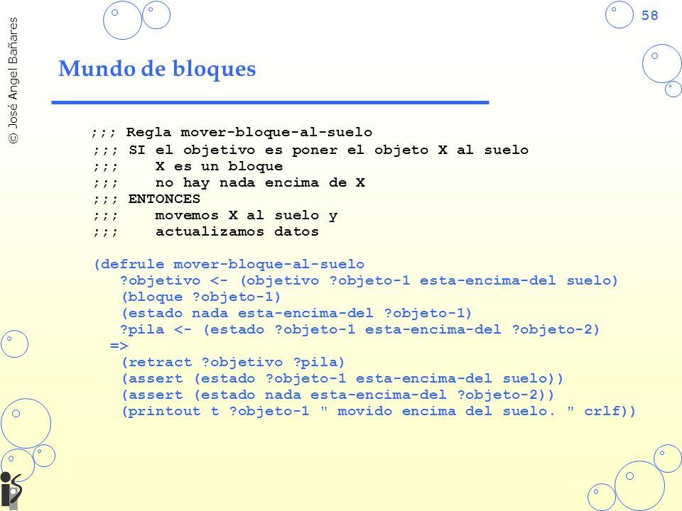 58 © José Angel Bañares Mundo de bloques ;;; Regla mover-bloque-al-suelo ;;; SI el objetivo es poner el objeto X al suelo ;;; X es un bloque ;;; no ha