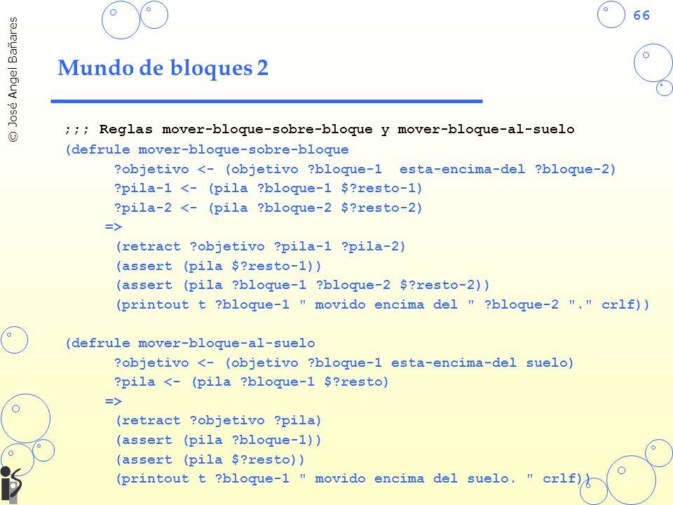 66 © José Angel Bañares Mundo de bloques 2 ;;; Reglas mover-bloque-sobre-bloque y mover-bloque-al-suelo (defrule mover-bloque-sobre-bloque ?objetivo <- (objetivo ?bloque-1 esta-encima-del ?bloque-2) ?pila-1 <- (pila ?bloque-1 $?resto-1) ?pila-2 <- (pila ?bloque-2 $?resto-2) => (retract ?objetivo ?pila-1 ?pila-2) (assert (pila $?resto-1)) (assert (pila ?bloque-1 ?bloque-2 $?resto-2)) (printout t ?bloque-1 movido encima del ?bloque-2 . crlf)) (defrule mover-bloque-al-suelo ?objetivo <- (objetivo ?bloque-1 esta-encima-del suelo) ?pila <- (pila ?bloque-1 $?resto) => (retract ?objetivo ?pila) (assert (pila ?bloque-1)) (assert (pila $?resto)) (printout t ?bloque-1 movido encima del suelo.