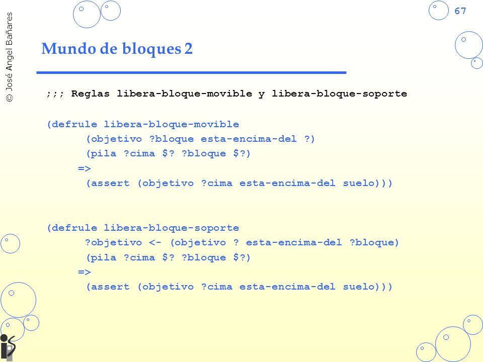 67 © José Angel Bañares Mundo de bloques 2 ;;; Reglas libera-bloque-movible y libera-bloque-soporte (defrule libera-bloque-movible (objetivo ?bloque esta-encima-del ?) (pila ?cima $.