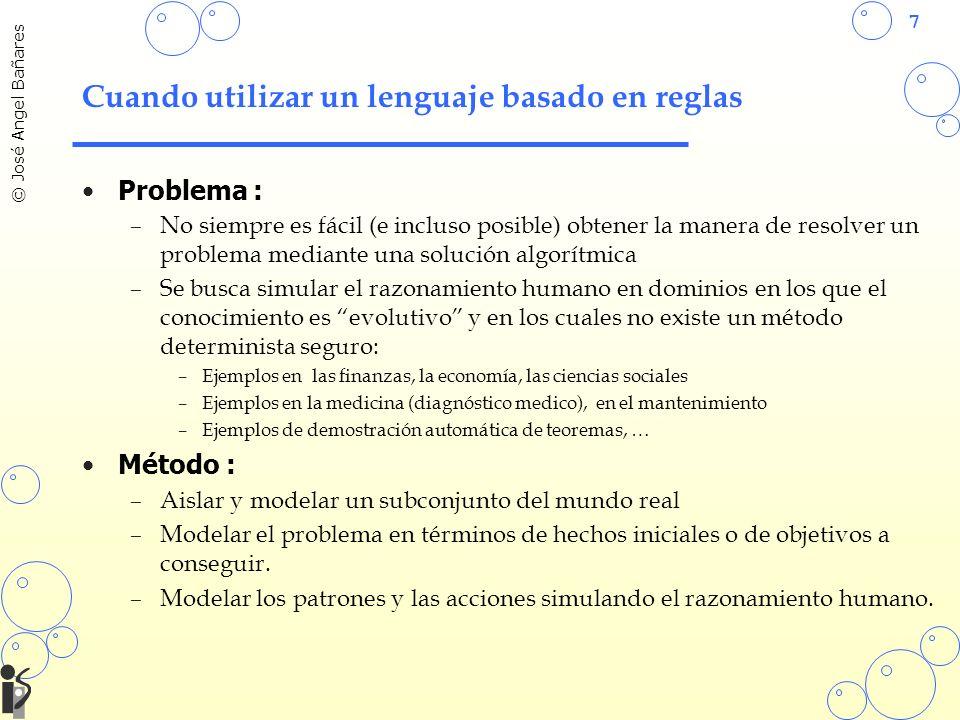 7 © José Angel Bañares Cuando utilizar un lenguaje basado en reglas Problema : –No siempre es fácil (e incluso posible) obtener la manera de resolver