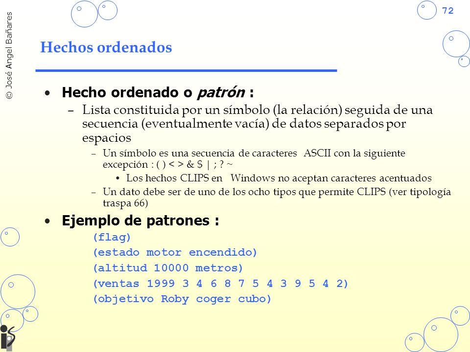72 © José Angel Bañares Hechos ordenados Hecho ordenado o patrón : –Lista constituida por un símbolo (la relación) seguida de una secuencia (eventualmente vacía) de datos separados por espacios –Un símbolo es una secuencia de caracteres ASCII con la siguiente excepción : ( ) & $ | ; .